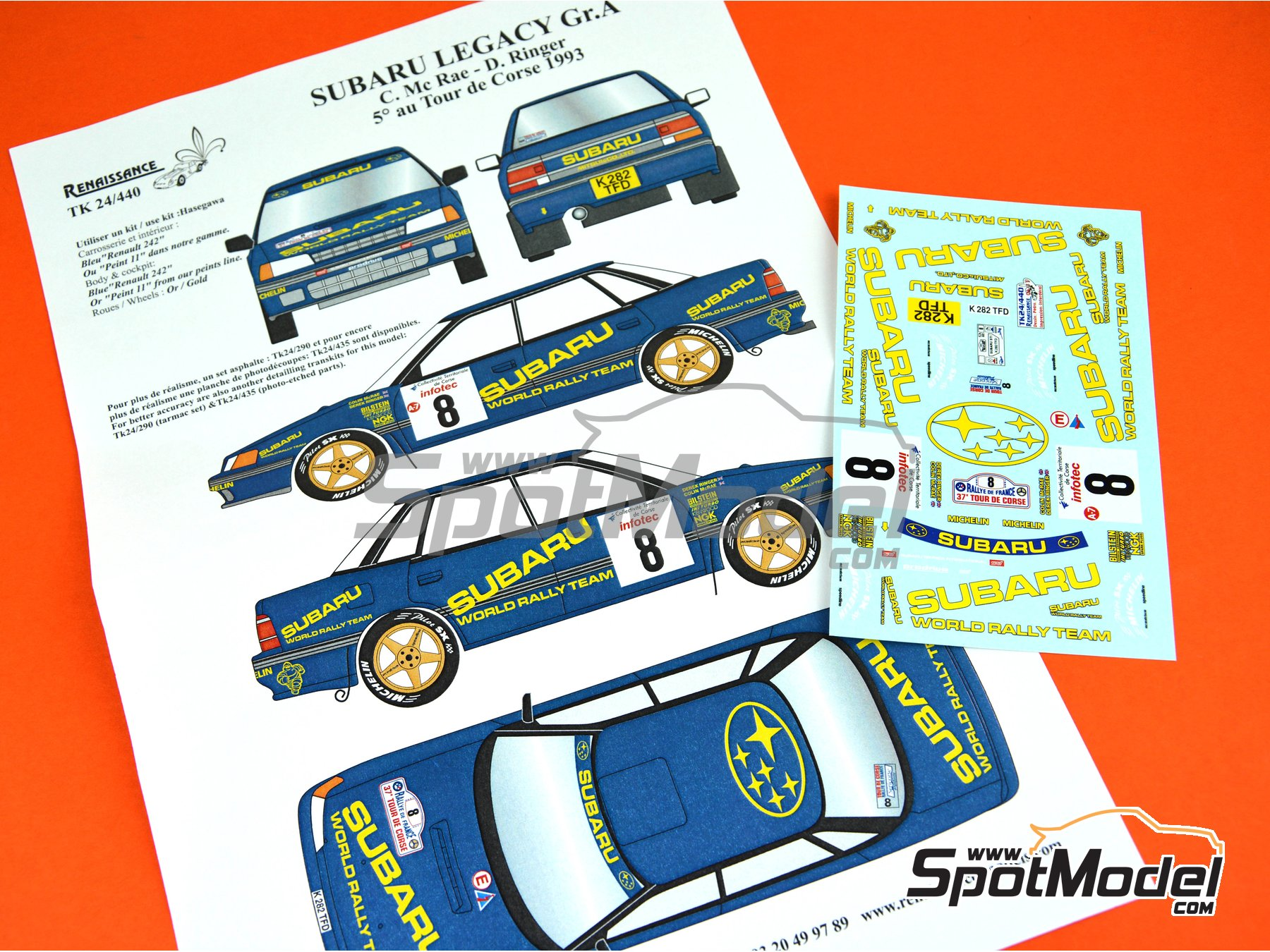 Image 5: Subaru Legacy Group A - Tour de Corse 1993 | Marking / livery in 1/24 scale manufactured by Renaissance Models (ref. TK24-440)