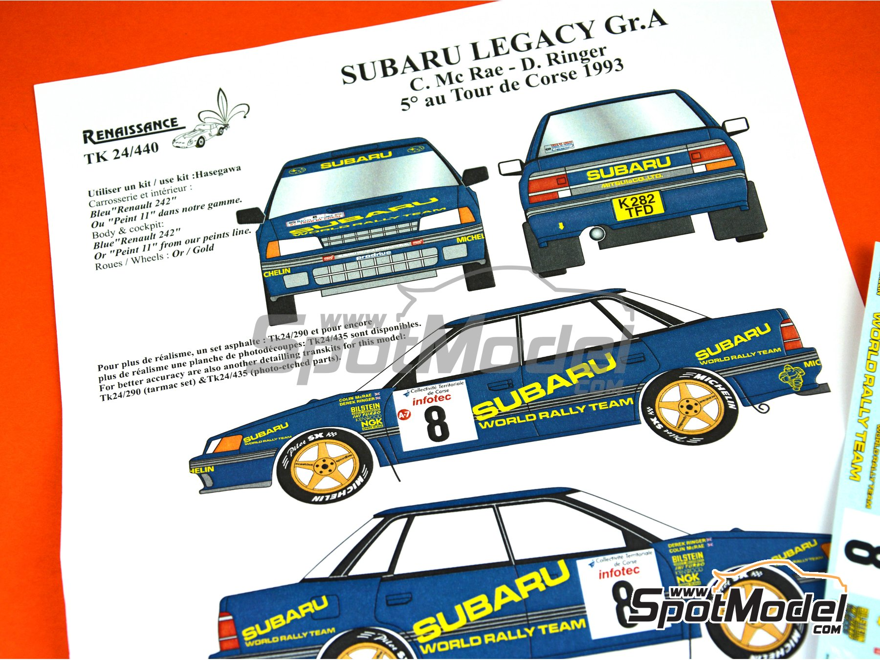 Image 6: Subaru Legacy Group A - Tour de Corse 1993 | Marking / livery in 1/24 scale manufactured by Renaissance Models (ref. TK24-440)