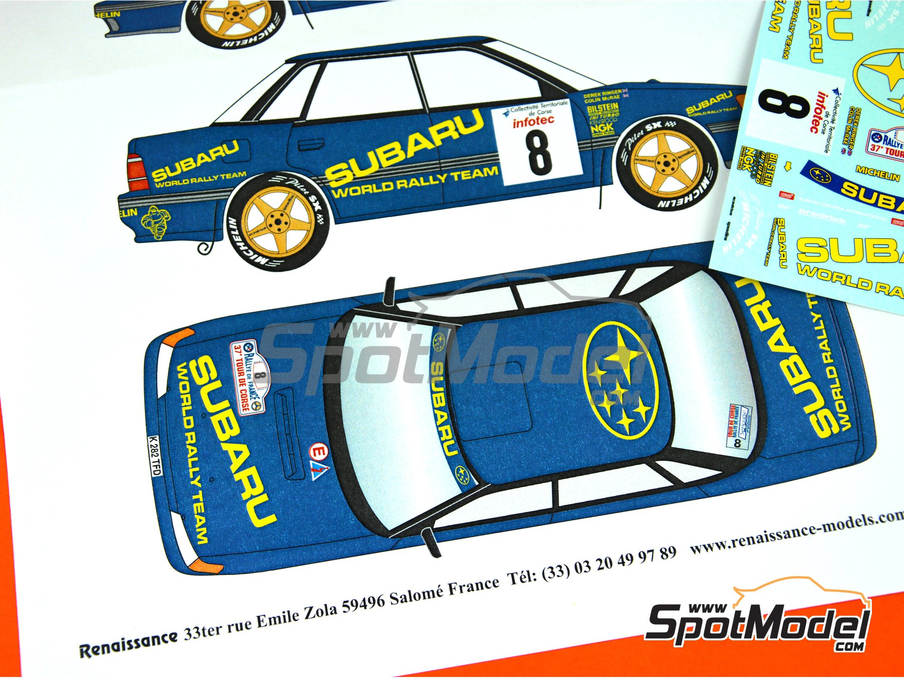 Image 7: Subaru Legacy Group A - Tour de Corse 1993 | Marking / livery in 1/24 scale manufactured by Renaissance Models (ref. TK24-440)
