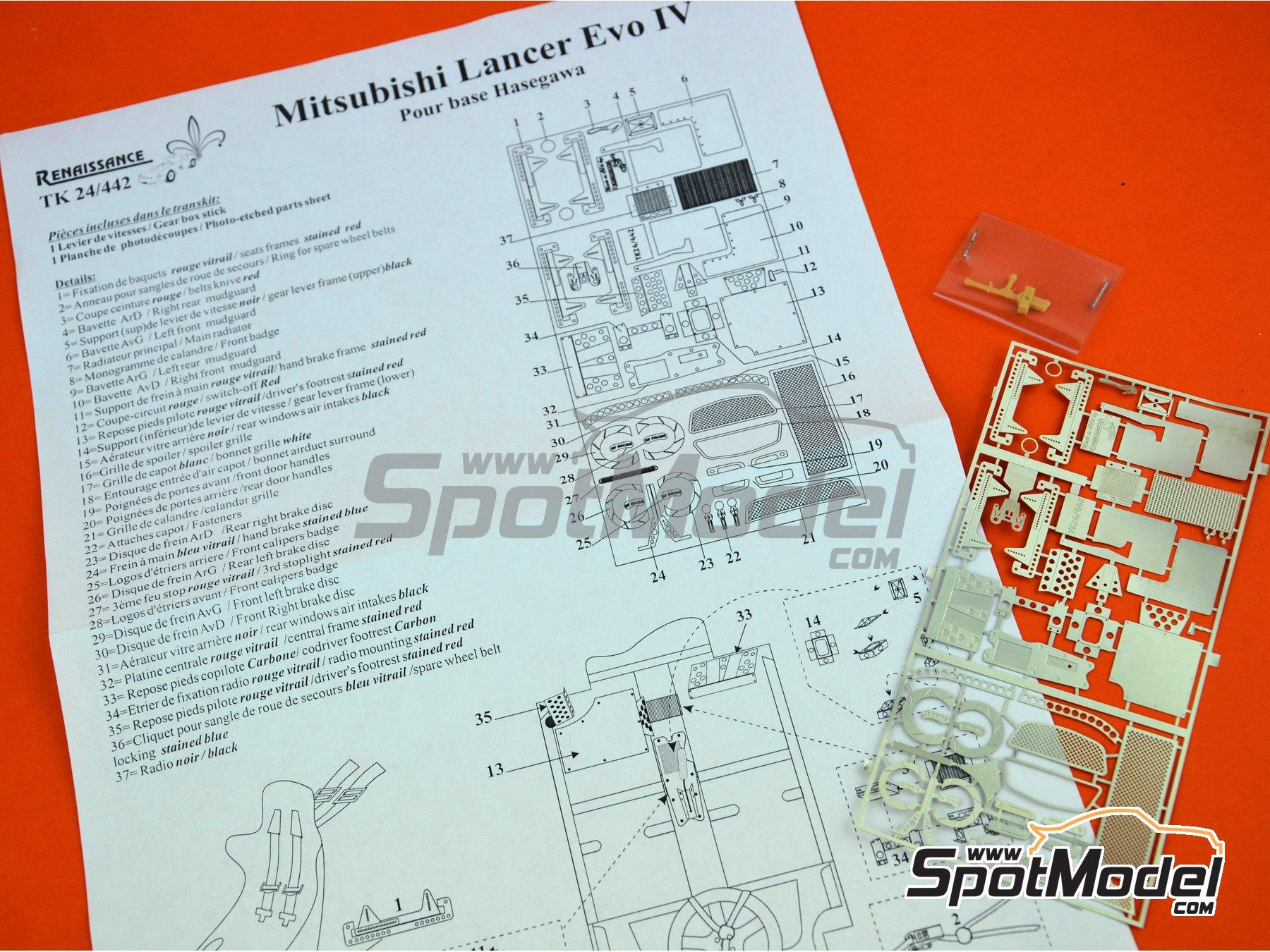 Image 2: Mitsubishi Lancer Evolution IV | Set de mejora y detallado en escala1/24 fabricado por Renaissance Models (ref.TK24-442)