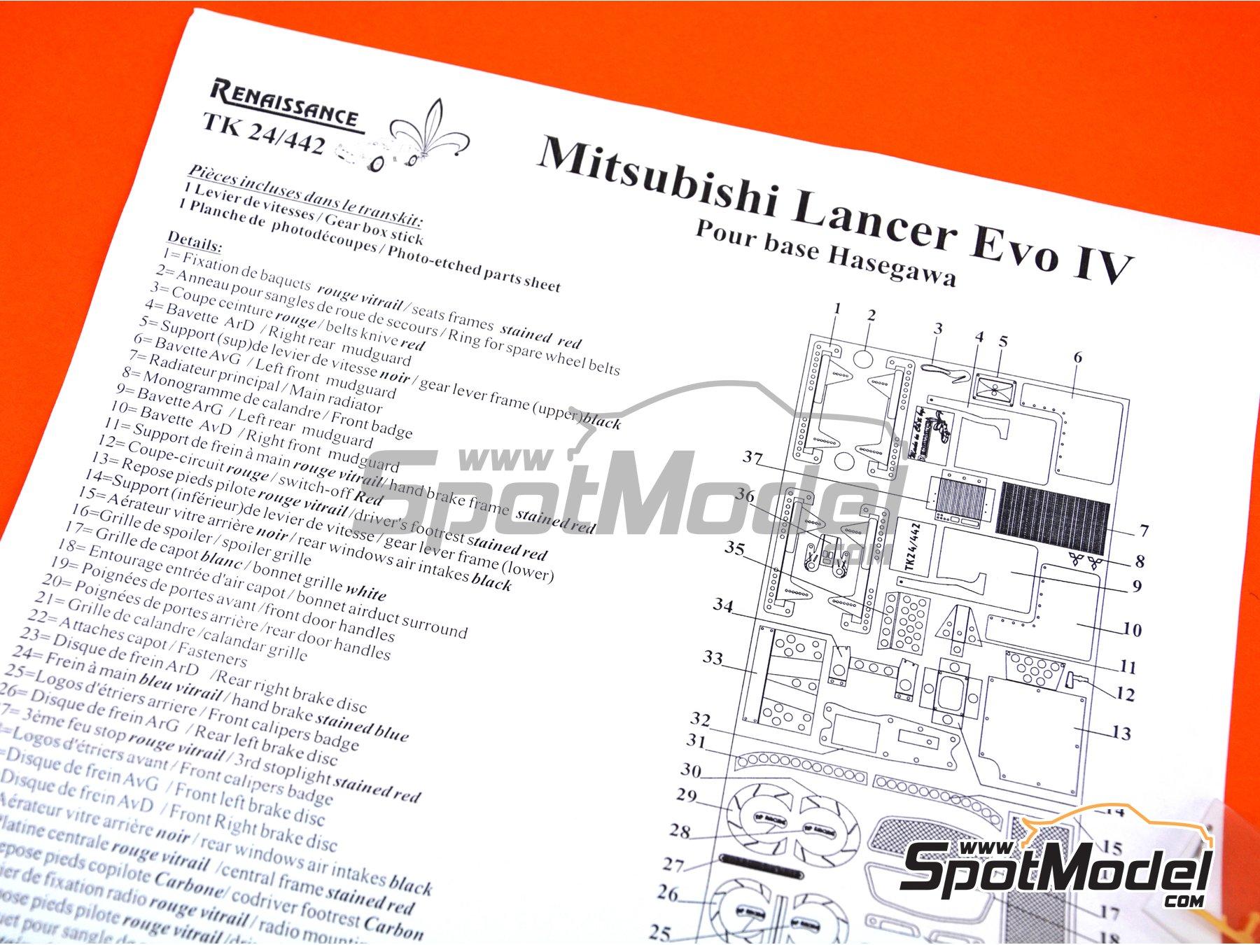 Image 3: Mitsubishi Lancer Evolution IV | Set de mejora y detallado en escala1/24 fabricado por Renaissance Models (ref.TK24-442)