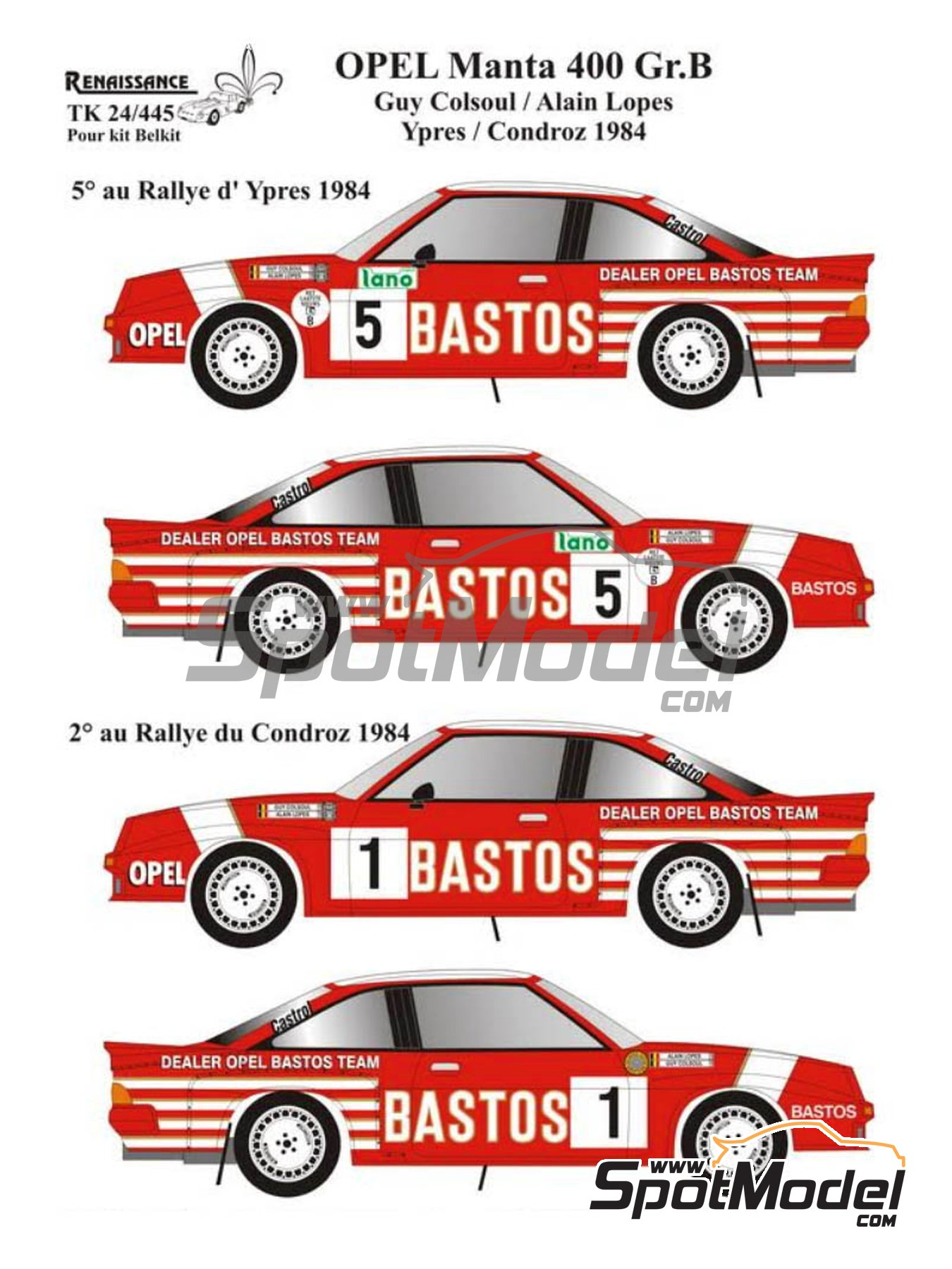 Opel Manta 400 Group B - Condroz Rally, Ypres Rally 1984 | Marking / livery in 1/24 scale manufactured by Renaissance Models (ref. TK24-445) image
