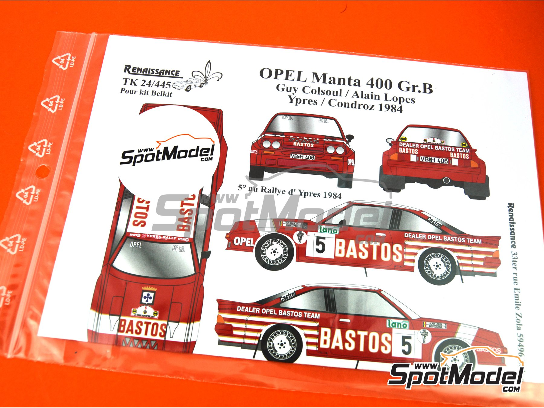 Image 7: Opel Manta 400 Group B Dealer Opel Bastos Team - Condroz Rally, Ypres Rally 1984 | Marking / livery in 1/24 scale manufactured by Renaissance Models (ref. TK24-445)