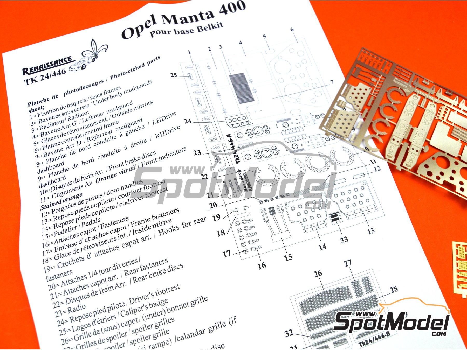 Image 2: Opel Manta 400 Group B | Detail up set in 1/24 scale manufactured by Renaissance Models (ref. TK24-446)