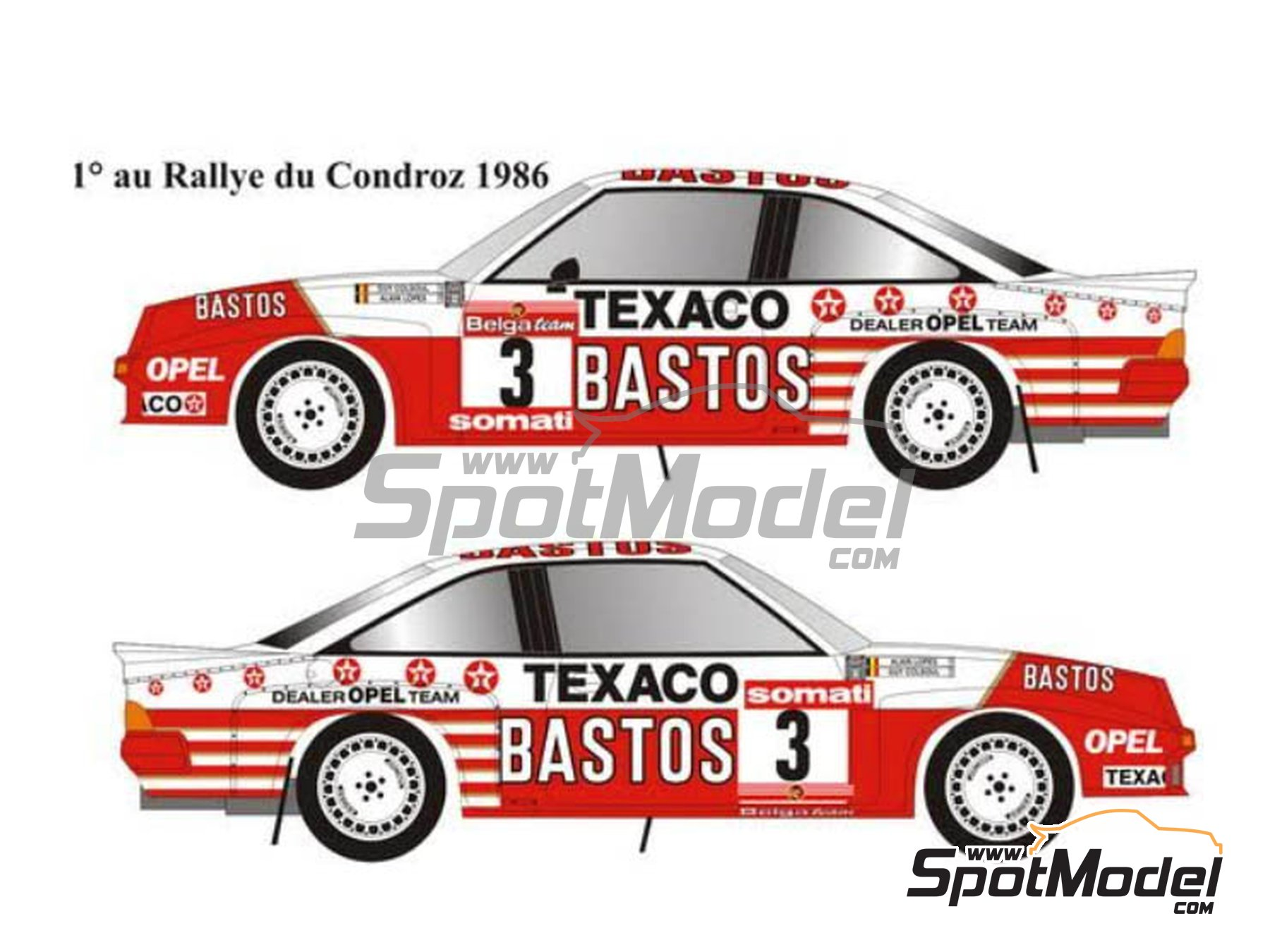 Image 1: Opel Manta 400 Group B Texaco Bastos - Condroz Rally, Ypres Rally 1986 | Marking / livery in 1/24 scale manufactured by Renaissance Models (ref. TK24-447)