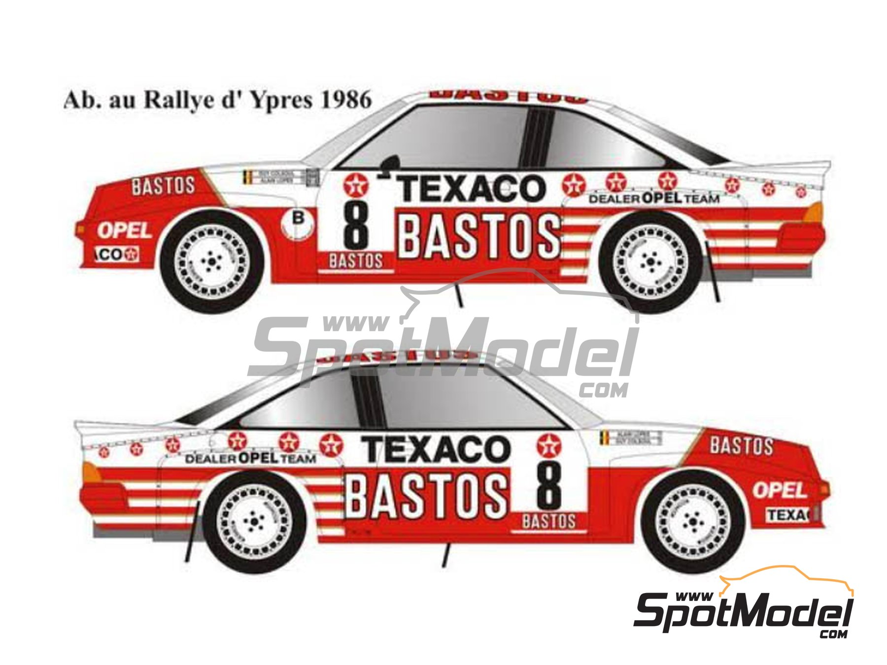 Image 2: Opel Manta 400 Group B Texaco Bastos - Condroz Rally, Ypres Rally 1986 | Marking / livery in 1/24 scale manufactured by Renaissance Models (ref. TK24-447)