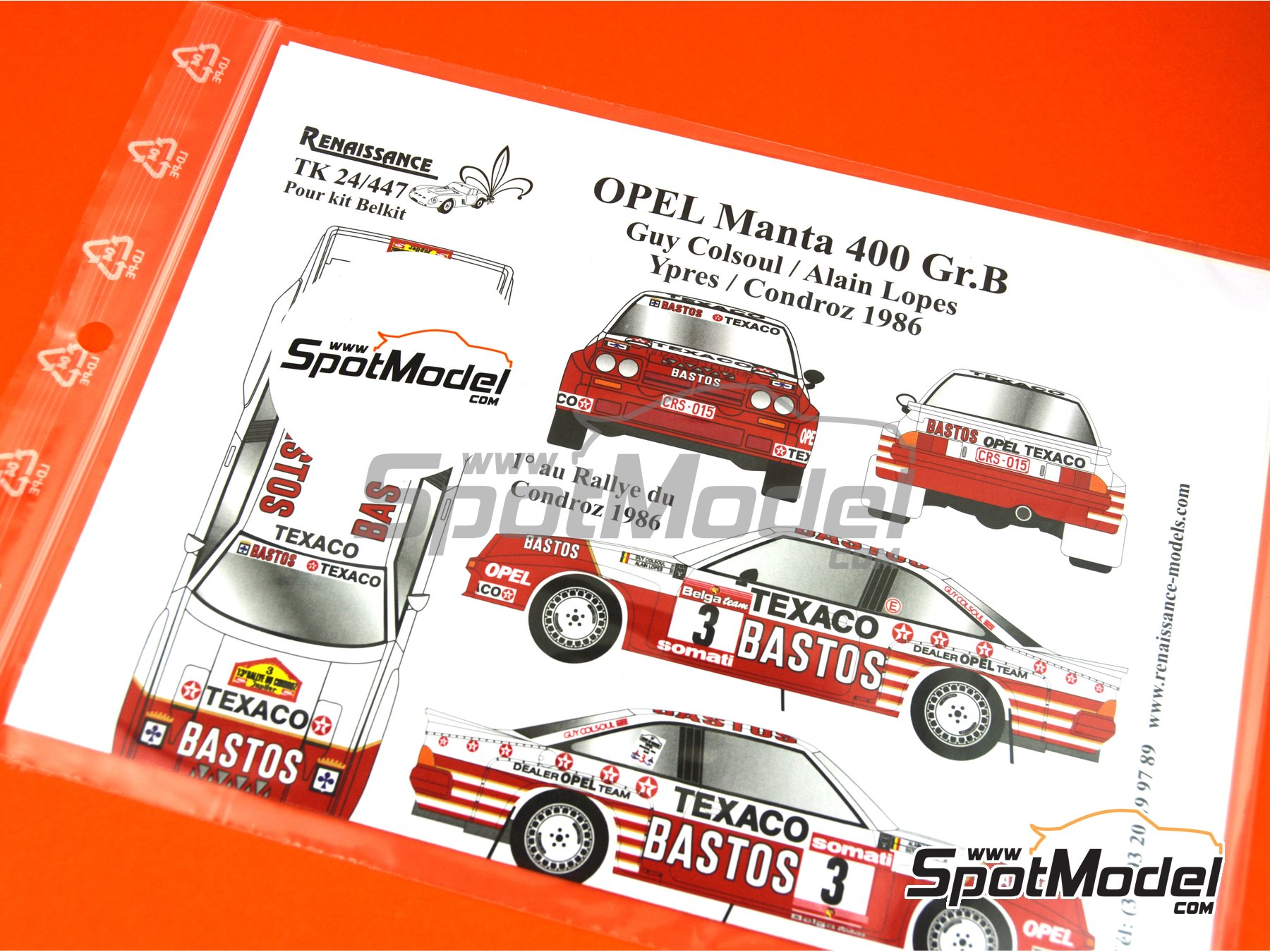Image 7: Opel Manta 400 Group B Texaco Bastos - Condroz Rally, Ypres Rally 1986 | Marking / livery in 1/24 scale manufactured by Renaissance Models (ref. TK24-447)
