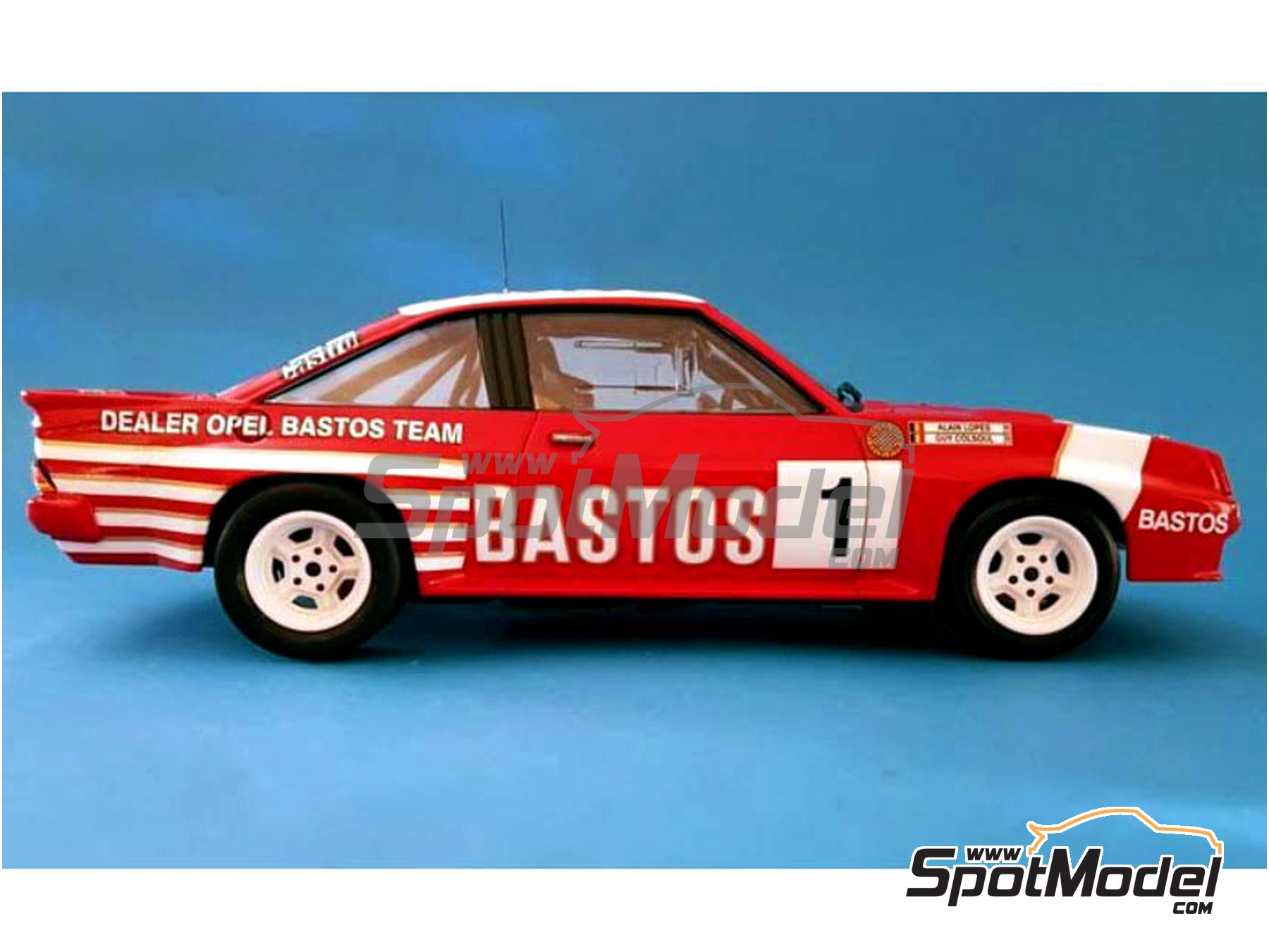 Image 8: Opel Manta 400 Group B Texaco Bastos - Condroz Rally, Ypres Rally 1986 | Marking / livery in 1/24 scale manufactured by Renaissance Models (ref. TK24-447)