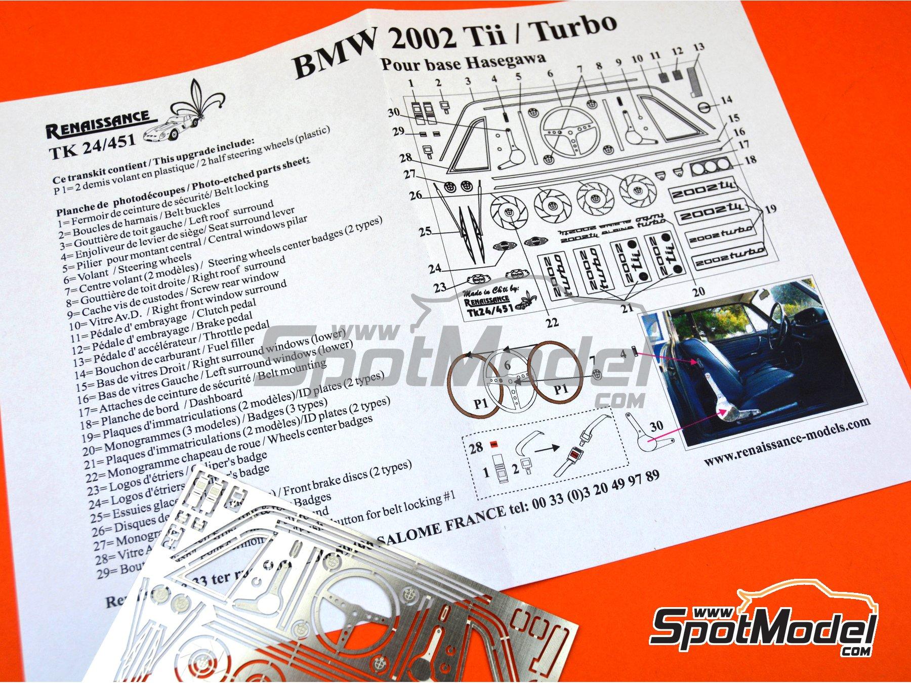 Image 3: BMW 2002 Tii / Turbo | Set de mejora y detallado en escala1/24 fabricado por Renaissance Models (ref.TK24-451)