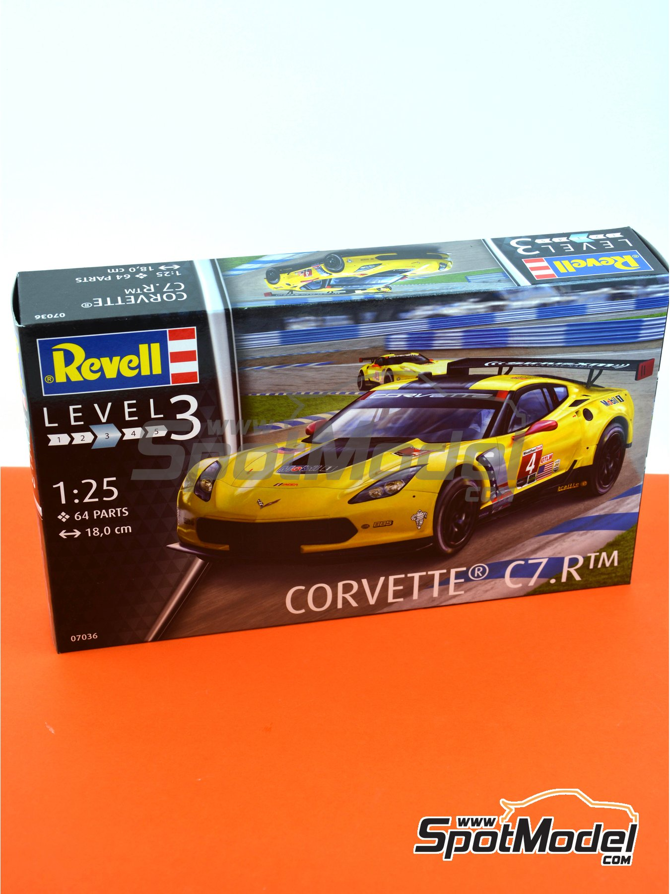 Chevrolet Corvette C7.R Movil1 - Weather Tech Sports Car Championship 2016 | Model car kit in 1/25 scale manufactured by Revell (ref. REV07036, also 07036 and 80-7036) image