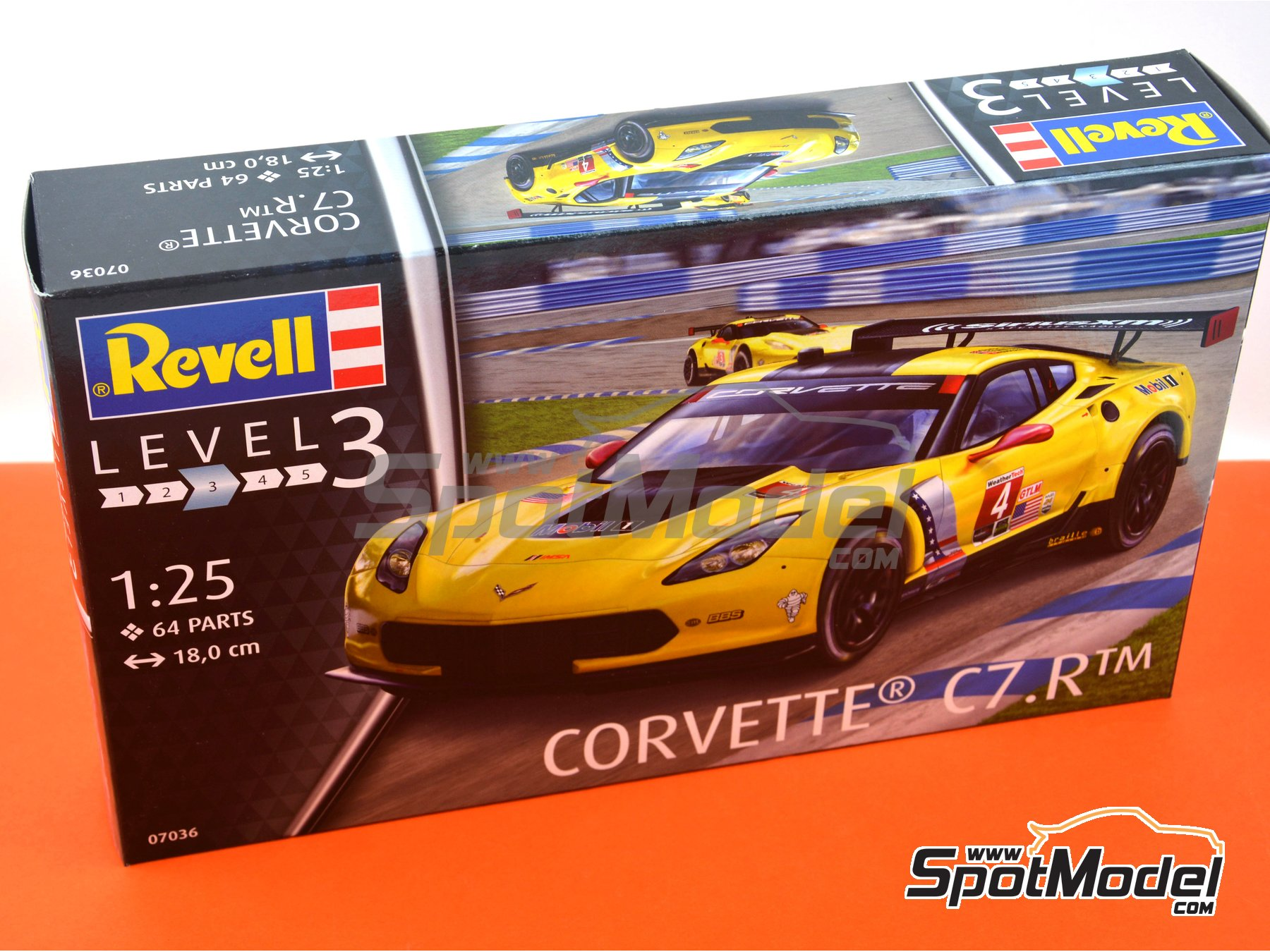 Image 10: Chevrolet Corvette C7.R Movil1 - Weather Tech Sports Car Championship 2016 | Model car kit in 1/25 scale manufactured by Revell (ref. REV07036, also 07036 and 80-7036)