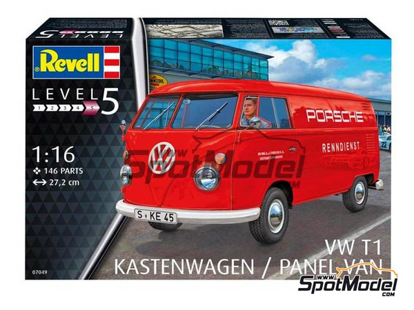 Image 2: Volkswagen Transporter  T1 Kastenwagen Porsche Renndienst | Model van kit in 1/16 scale manufactured by Revell (ref.REV07049, also 07049, REV7049 and 4009803070490)