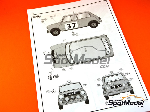 Image 23: Mini Cooper Mk. I - Montecarlo Rally 1964 | Model car kit in 1/24 scale manufactured by Revell (ref.REV07064)