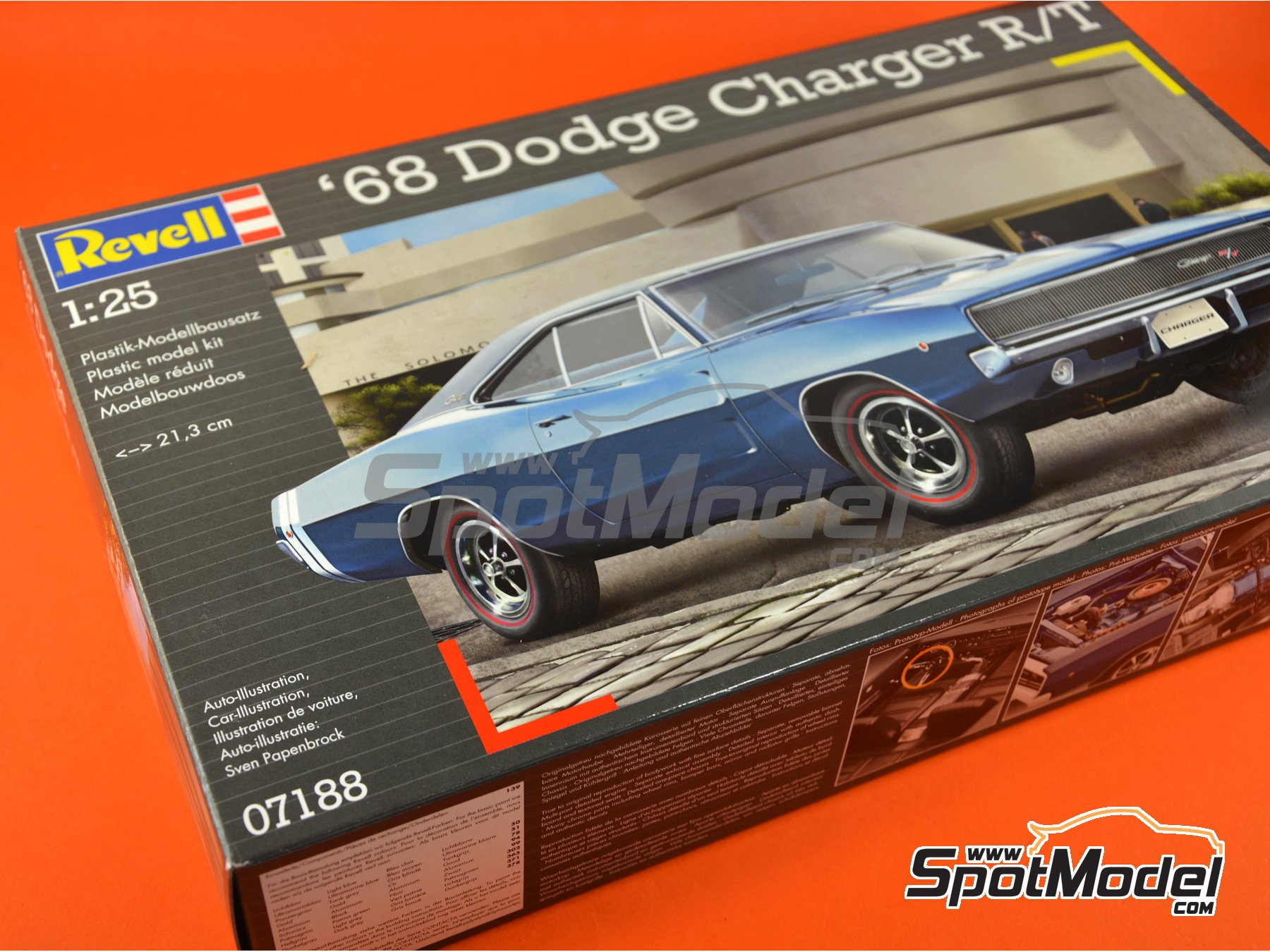 Image 11: Dodge Charger R/T -  1968 | Model car kit in 1/25 scale manufactured by Revell (ref. REV07188)