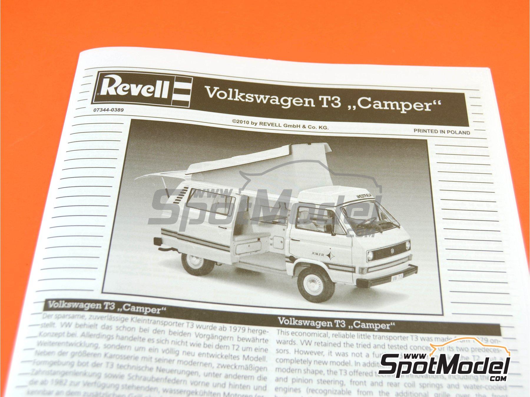 Image 9: Volkswagen Transporter T3 Westfalia Joker Camper | Model car kit in 1/25 scale manufactured by Revell (ref.REV07344, also 07344 and 80-7344)