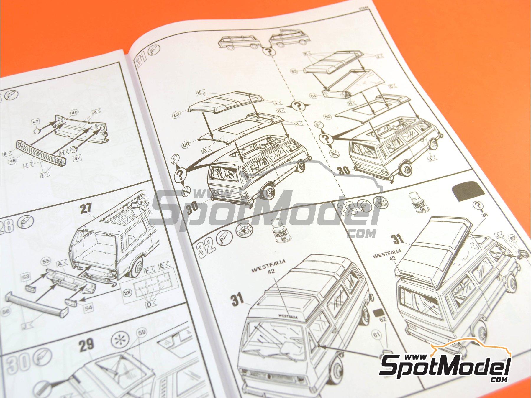 Image 12: Volkswagen Transporter T3 Westfalia Joker Camper | Model car kit in 1/25 scale manufactured by Revell (ref.REV07344, also 07344 and 80-7344)