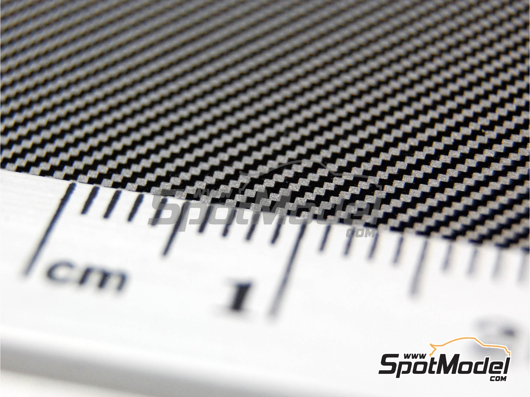 Image 8: Carbon fiber twill weave black on pewter biggest size pattern | Decals in 1/12 scale manufactured by Scale Motorsport (ref. SM1012)