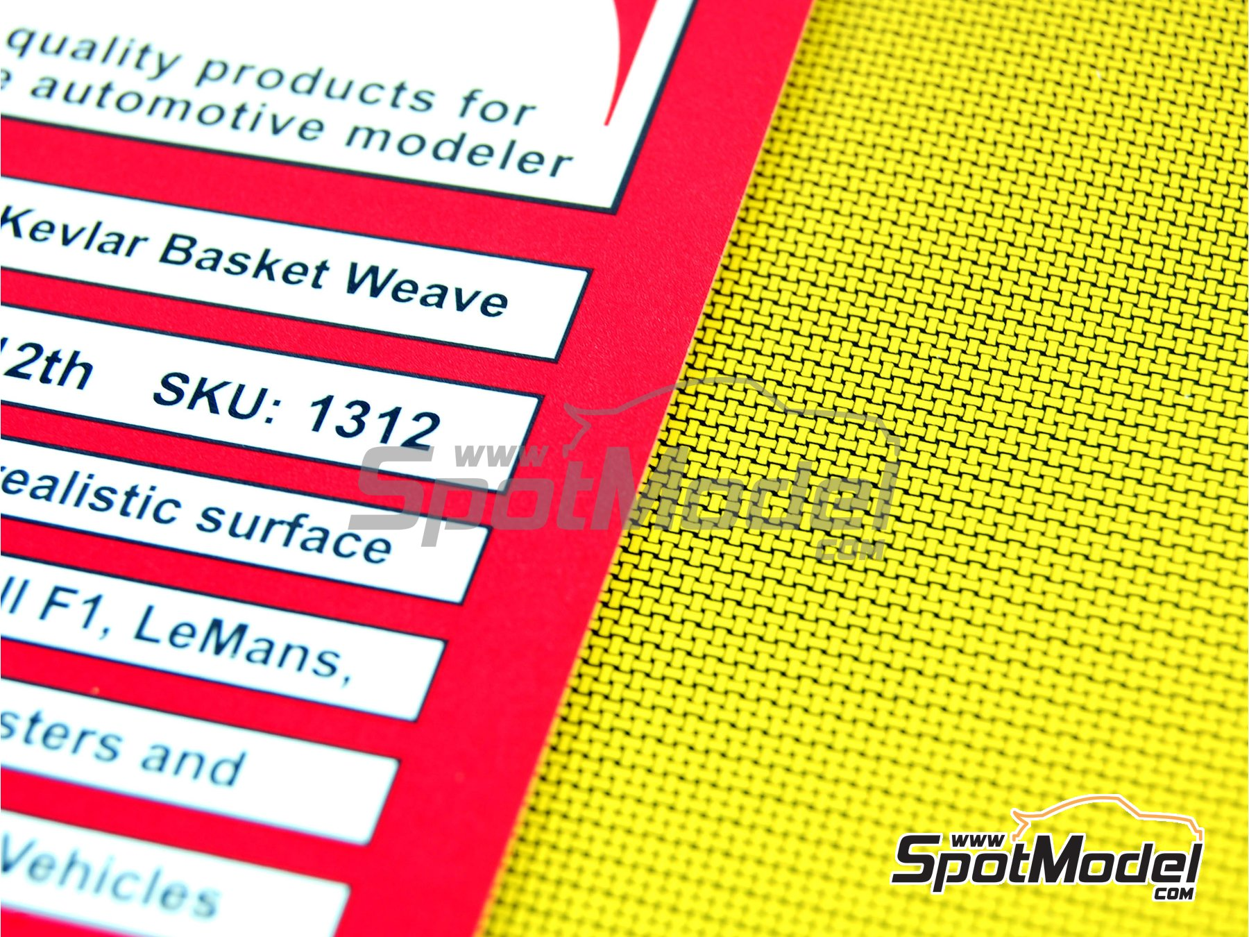 Image 3: Extra large size basket weave Kevlar pattern in yellow on black | Decals in 1/12 scale manufactured by Scale Motorsport (ref. SM1312, also 1312)