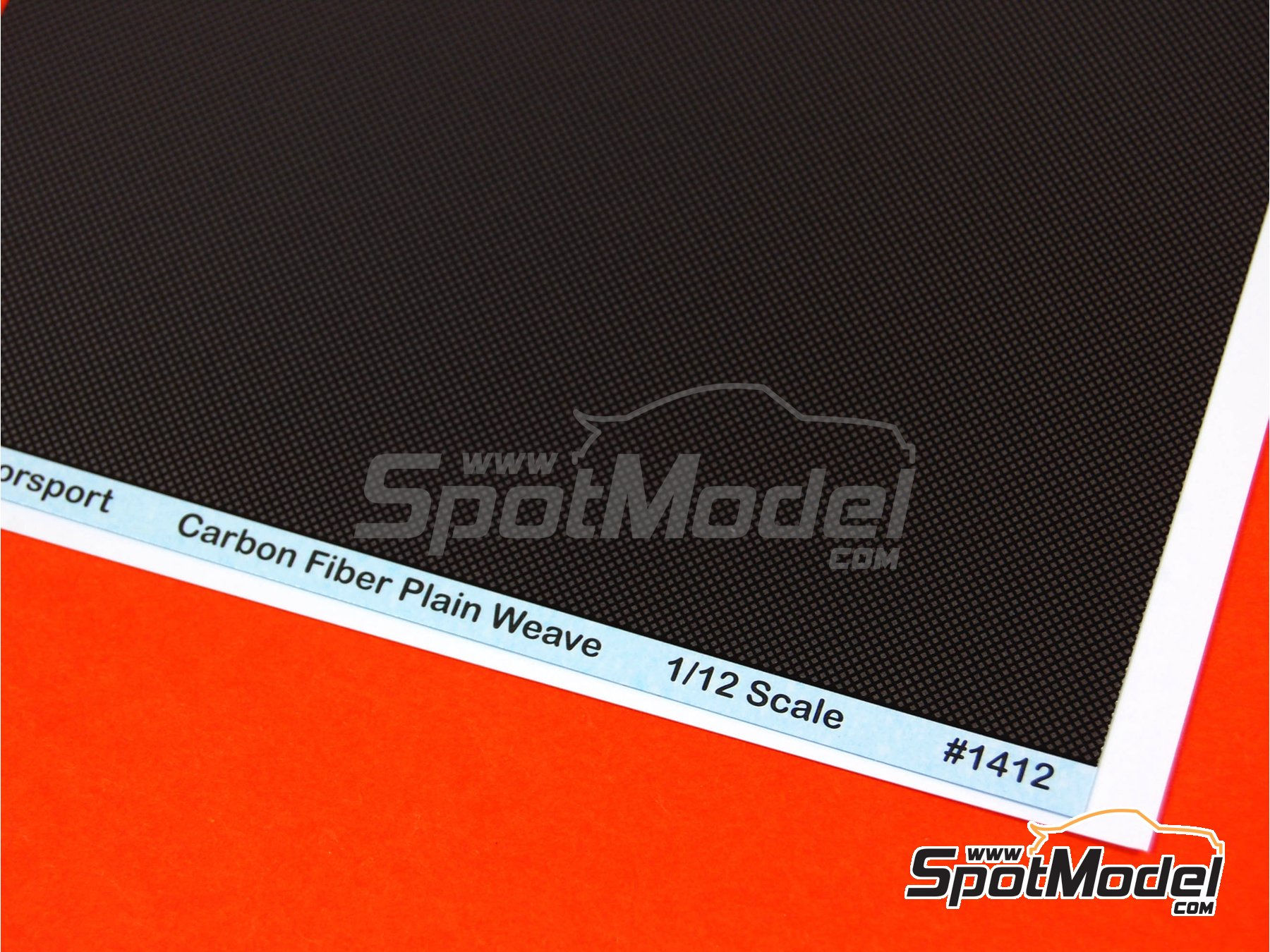 Image 2: Extra large size plain weave carbon fiber pattern in pewter and black | Decals in 1/12 scale manufactured by Scale Motorsport (ref. SM1412, also 1412)