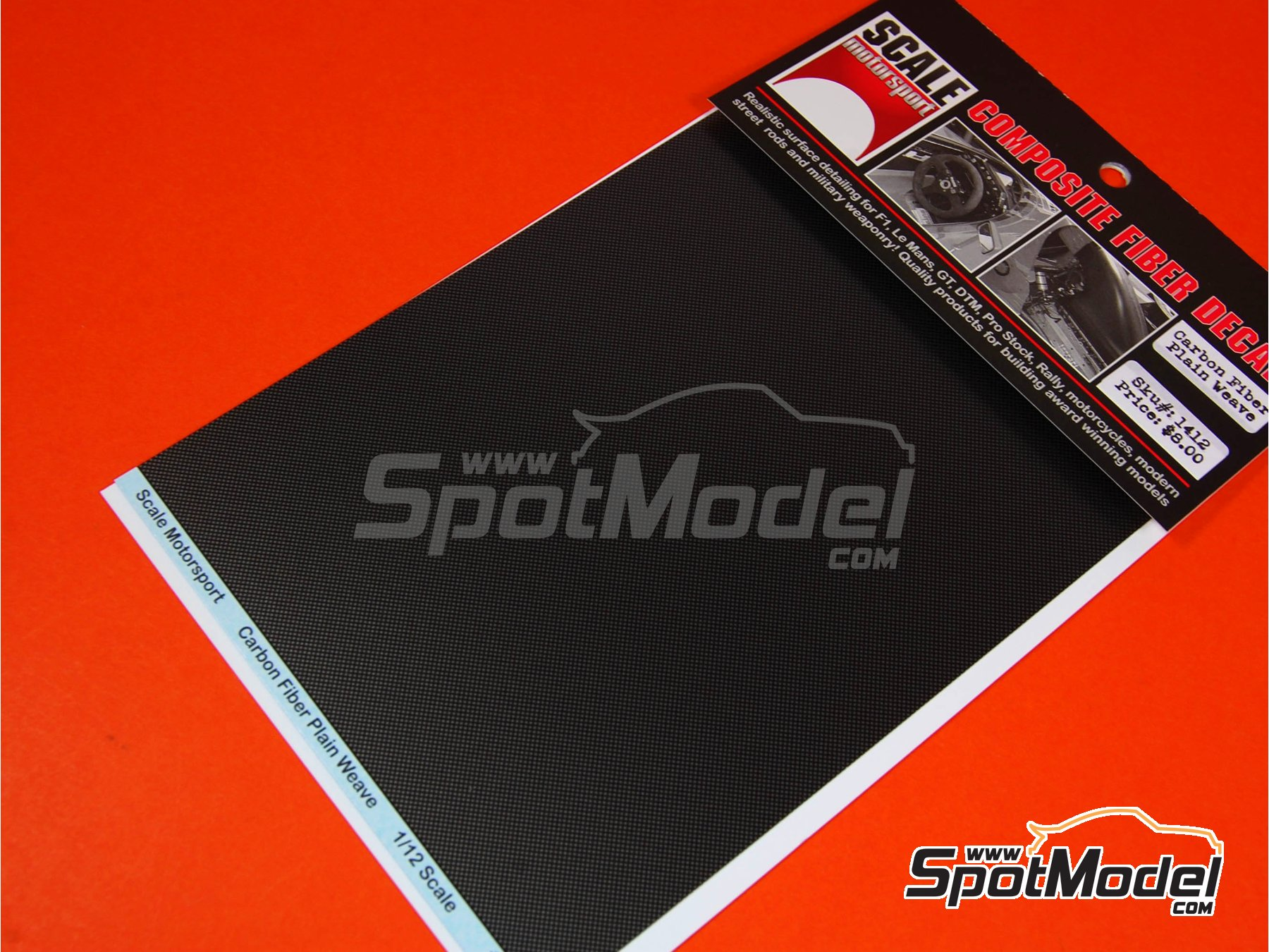 Image 4: Carbon fiber plain weave pattern black on pewter biggest size | Decals in 1/12 scale manufactured by Scale Motorsport (ref.SM1412)