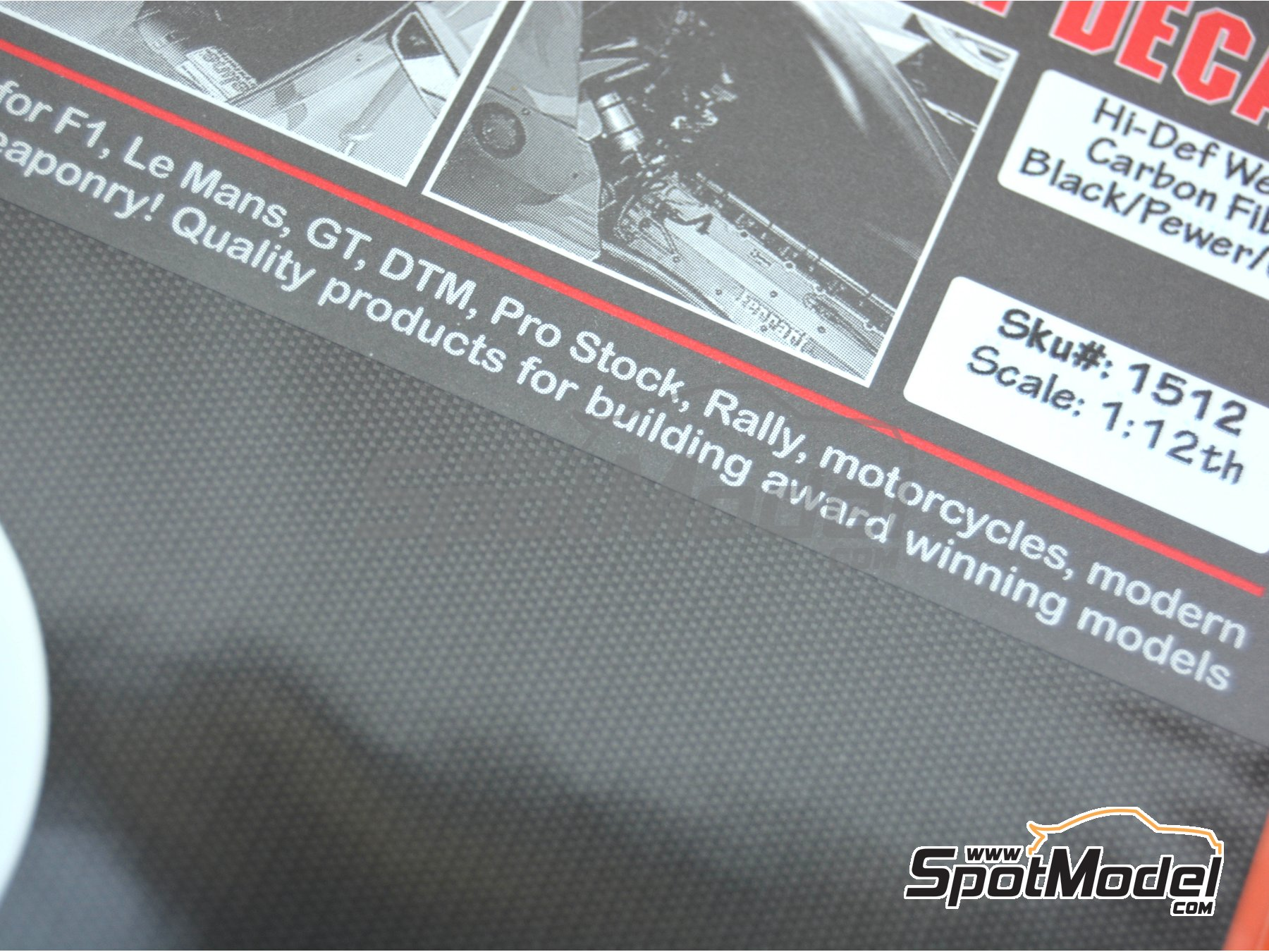 Image 3: High definition extra large size plain weave carbon fiber pattern in black and pewter | Decals in 1/12 scale manufactured by Scale Motorsport (ref. SM1512, also 1512)