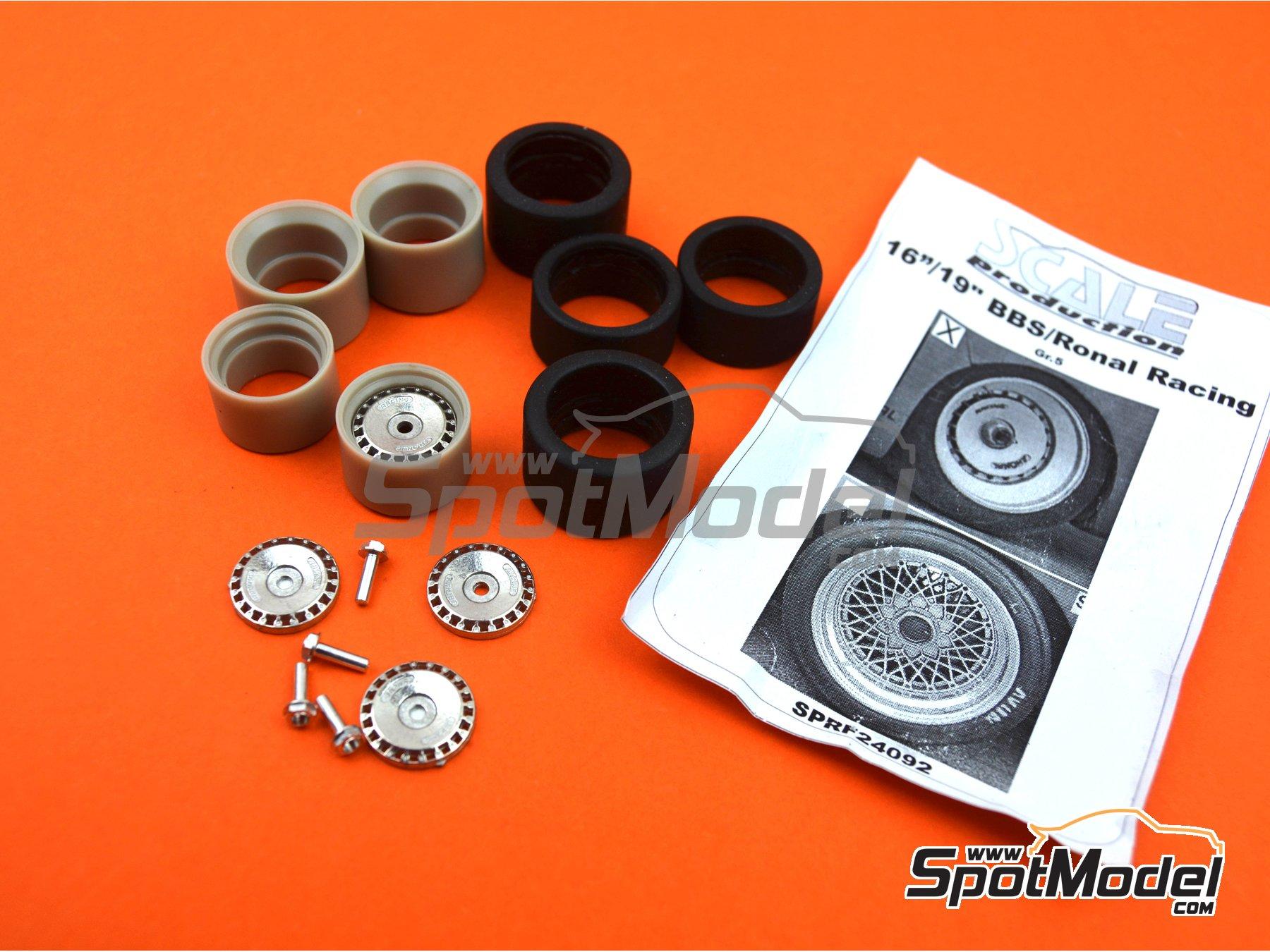 Image 5: Llanta Ronal de 16 pulgadas con neumáticos lisos de 19 pulgadas | Set de llantas y neumáticos en escala1/24 fabricado por Scale Production (ref.SPRF24092-RONAL-TYRE)