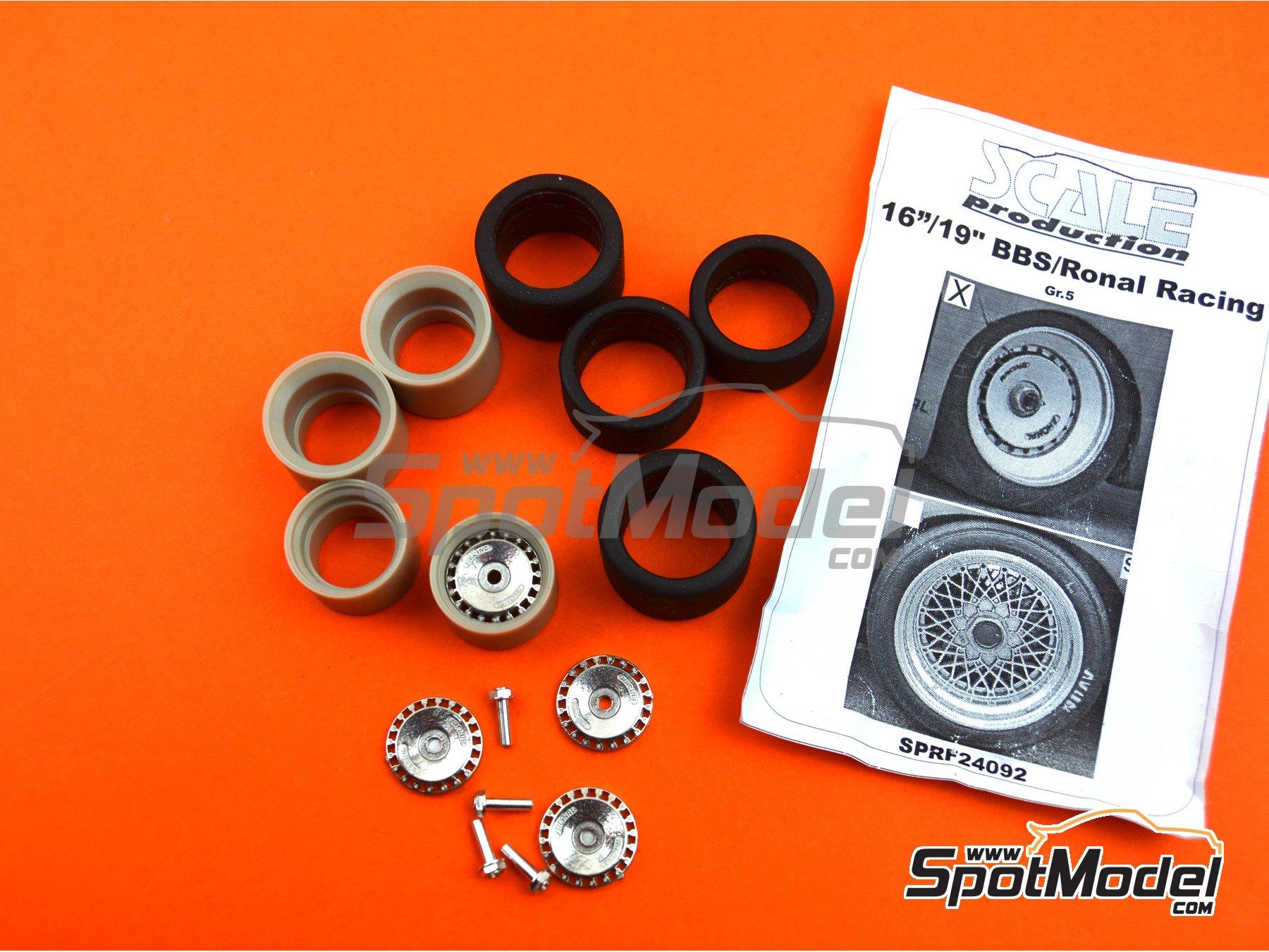 Image 6: Llanta Ronal de 16 pulgadas con neumáticos lisos de 19 pulgadas | Set de llantas y neumáticos en escala1/24 fabricado por Scale Production (ref.SPRF24092-RONAL-TYRE)