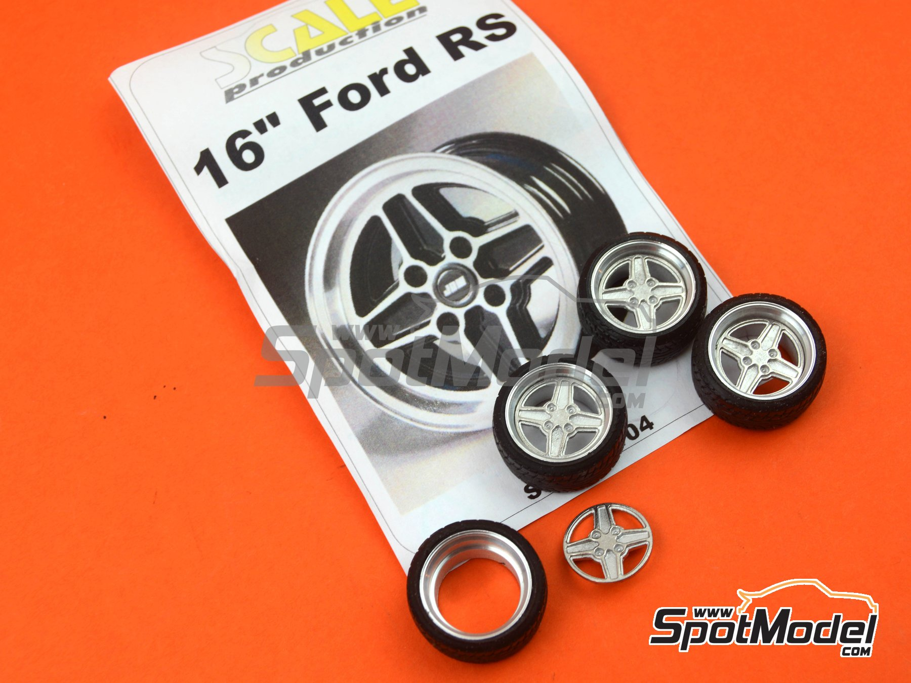 Image 7: 16 inches Ford RS | Rims and tyres set in 1/24 scale manufactured by Scale Production (ref. SPRF24104)