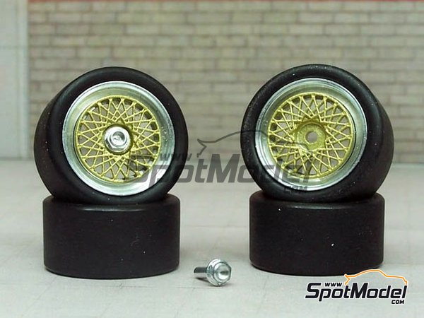 Image 1: 17 inches BBS E50 DTM | Rims and tyres set in 1/24 scale manufactured by Scale Production (ref. SPRF24107-1)