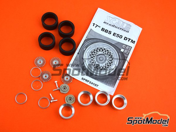 Image 4: 17 inches BBS E50 DTM | Rims and tyres set in 1/24 scale manufactured by Scale Production (ref. SPRF24107-1)