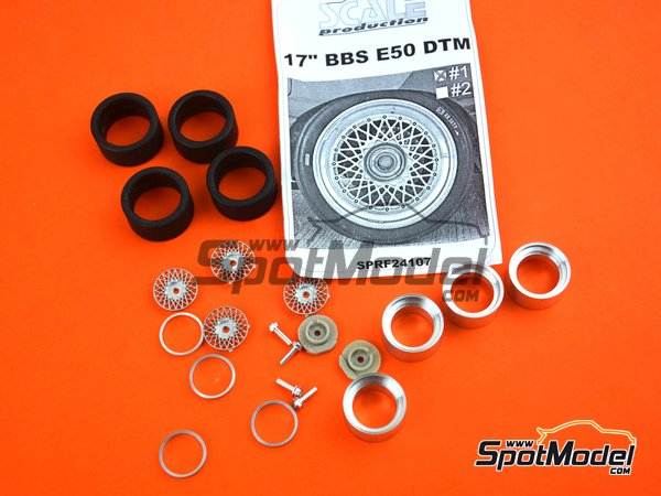 Image 6: 17 inches BBS E50 DTM | Rims and tyres set in 1/24 scale manufactured by Scale Production (ref. SPRF24107-1)