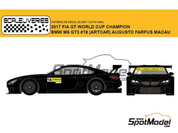 Image 1: BMW M6 GT3 BMW Team Schnitzer Art Car - Macau FIA GT World Cup Championship 2017 | Marking / livery in 1/24 scale manufactured by Scaleliveries (ref.SLC006)
