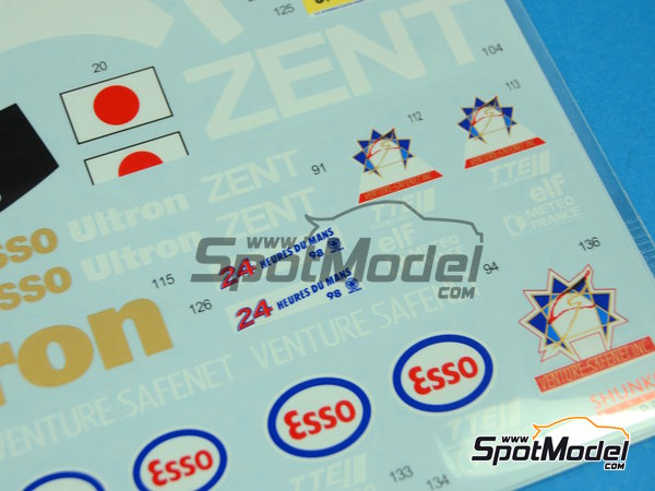 Image 8: Toyota TS020 GT-One Esso - 24 Hours Le Mans 1998 | Marking / livery in 1/24 scale manufactured by Shunko Models (ref. SHK-D010)