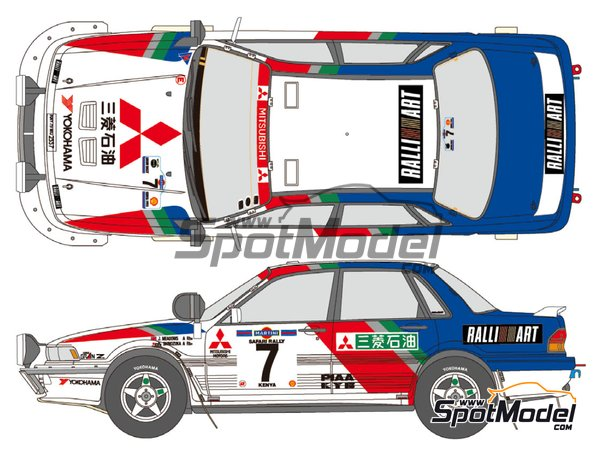 Image 1: Mitsubishi Galant VR-4 Ralli Art - Safari Rally 1992 | Marking / livery in 1/24 scale manufactured by Shunko Models (ref.SHK-D057)