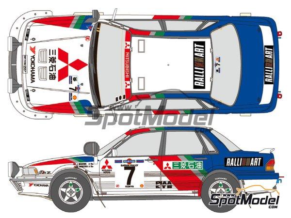 Image 1: Mitsubishi Galant VR-4 Ralli Art - Rally Safari 1992 | Decoración en escala1/24 fabricado por Shunko Models (ref.SHK-D057)