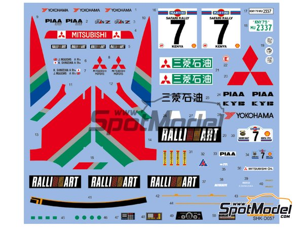 Image 2: Mitsubishi Galant VR-4 Ralli Art - Safari Rally 1992 | Marking / livery in 1/24 scale manufactured by Shunko Models (ref.SHK-D057)