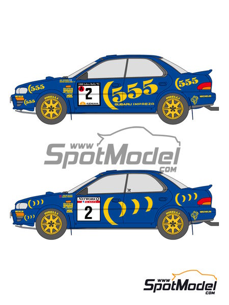 Subaru Impreza WRC 555 - Rally de Inglaterra RAC, Rally de los 1000 Lagos Finlandia 1993   Calcas de agua en escala1/24 fabricado por Shunko Models (ref.SHK-D111) image