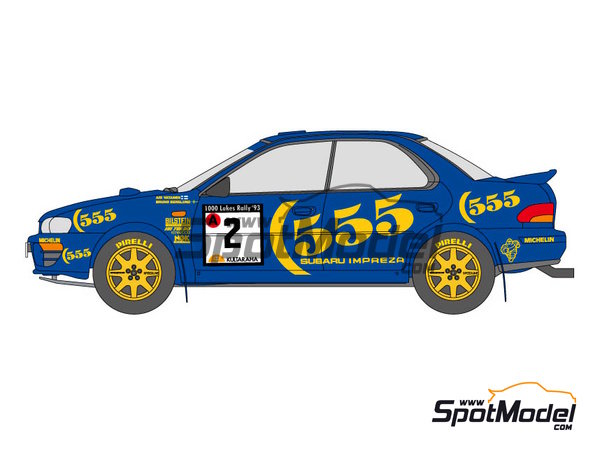 Image 1: Subaru Impreza WRC 555 - Rally de Inglaterra RAC, Rally de los 1000 Lagos Finlandia 1993   Calcas de agua en escala1/24 fabricado por Shunko Models (ref.SHK-D111)