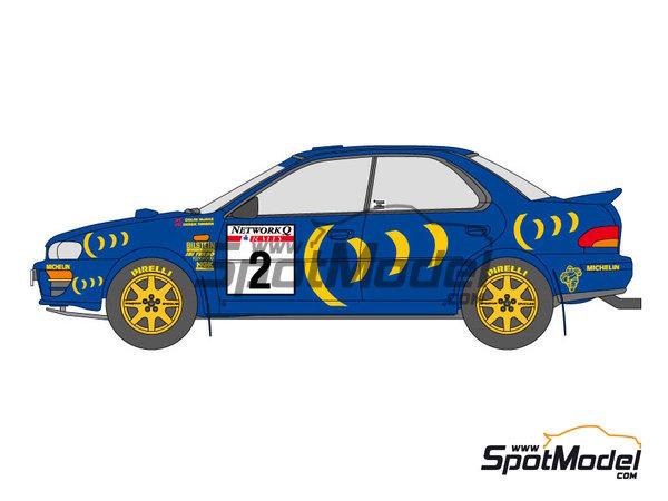 Image 2: Subaru Impreza WRC 555 - Rally de Inglaterra RAC, Rally de los 1000 Lagos Finlandia 1993   Calcas de agua en escala1/24 fabricado por Shunko Models (ref.SHK-D111)