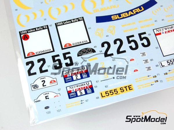 Image 7: Subaru Impreza WRC 555 - Rally de Inglaterra RAC, Rally de los 1000 Lagos Finlandia 1993   Calcas de agua en escala1/24 fabricado por Shunko Models (ref.SHK-D111)