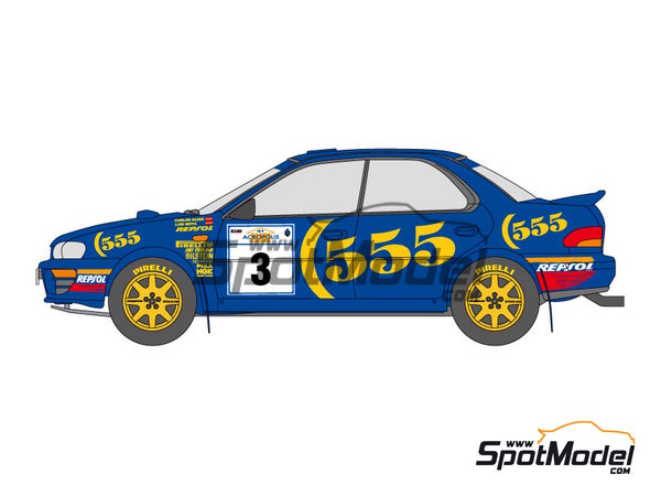 Image 2: Subaru Impreza WRC 555 - Acropolis rally, Great Britain RAC Rally 1994 and 1995 | Marking / livery in 1/24 scale manufactured by Shunko Models (ref.SHK-D112)