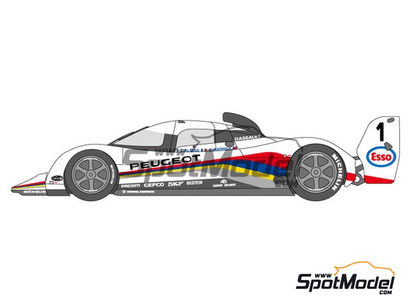 Image 2: Peugeot 905 Evo1 Esso - 24 Hours Le Mans 1991, 1992 and 1993 | Marking / livery in 1/24 scale manufactured by Shunko Models (ref. SHK-D120)