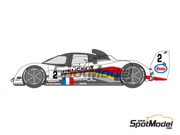 Image 3: Peugeot 905 Evo1 Esso - 24 Hours Le Mans 1991, 1992 and 1993 | Marking / livery in 1/24 scale manufactured by Shunko Models (ref. SHK-D120)