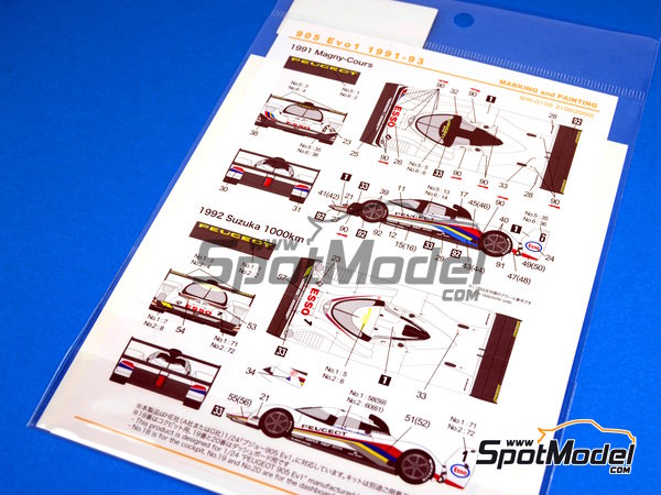 Image 5: Peugeot 905 Evo1 Esso - 24 Hours Le Mans 1991, 1992 and 1993 | Marking / livery in 1/24 scale manufactured by Shunko Models (ref. SHK-D120)