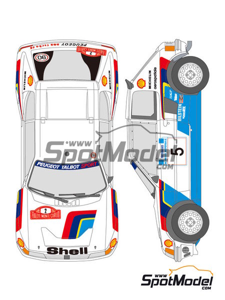 Peugeot 205 Turbo 16 Shell - Acropolis rally, Montecarlo Rally 1985 | Marking / livery in 1/24 scale manufactured by Shunko Models (ref. SHK-D139) image