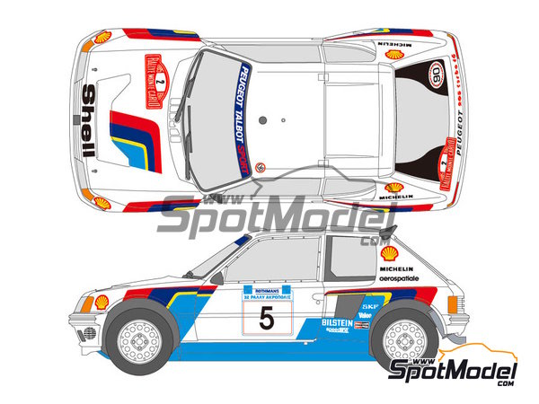 Image 1: Peugeot 205 Turbo 16 Shell - Acropolis rally, Montecarlo Rally 1985 | Marking / livery in 1/24 scale manufactured by Shunko Models (ref. SHK-D139)