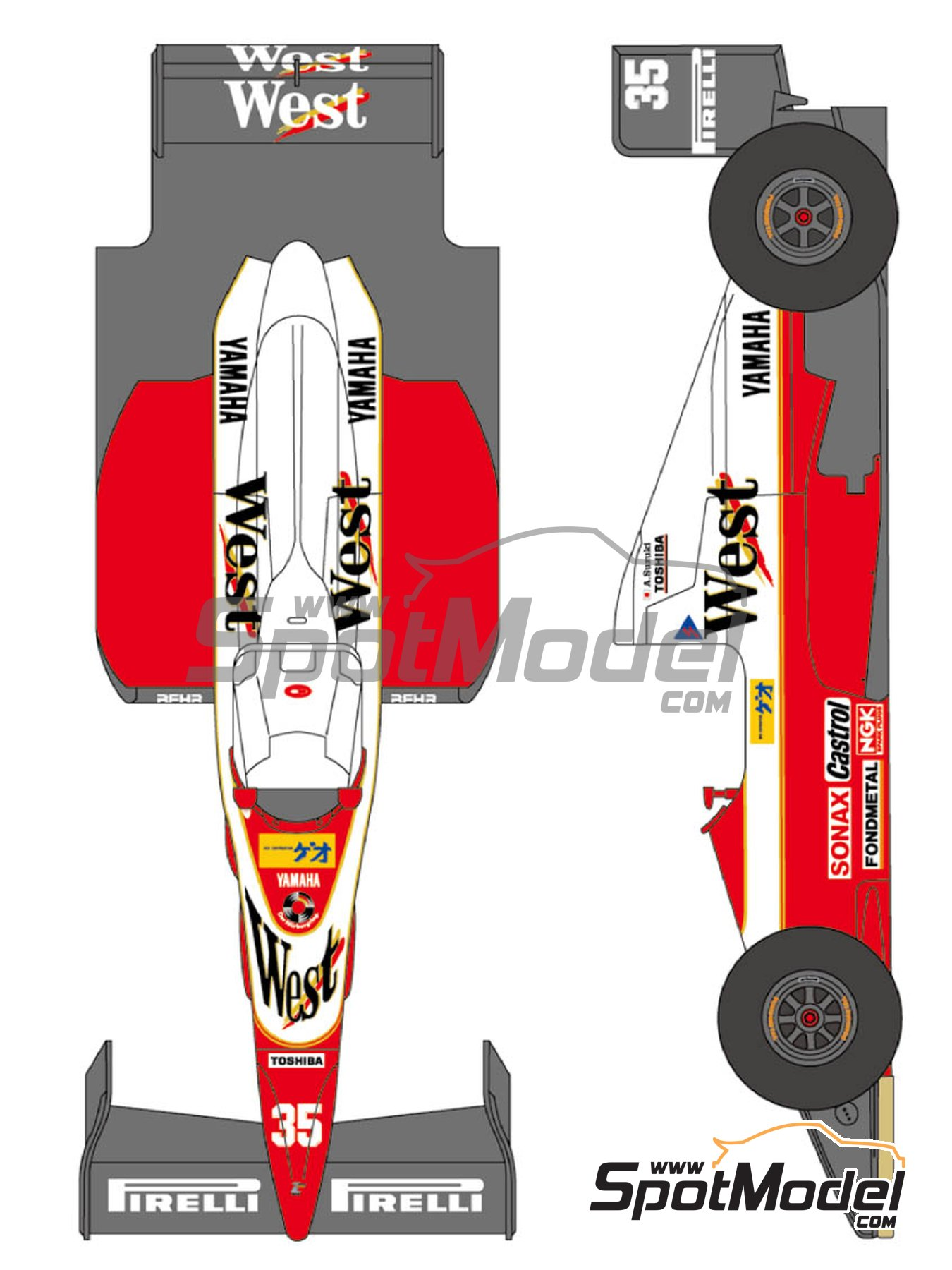 Zakspeed Yamaha ZK 891 West - FIA Formula 1 World Championship 1989 | Marking / livery in 1/24 scale manufactured by Shunko Models (ref. SHK-D144) image