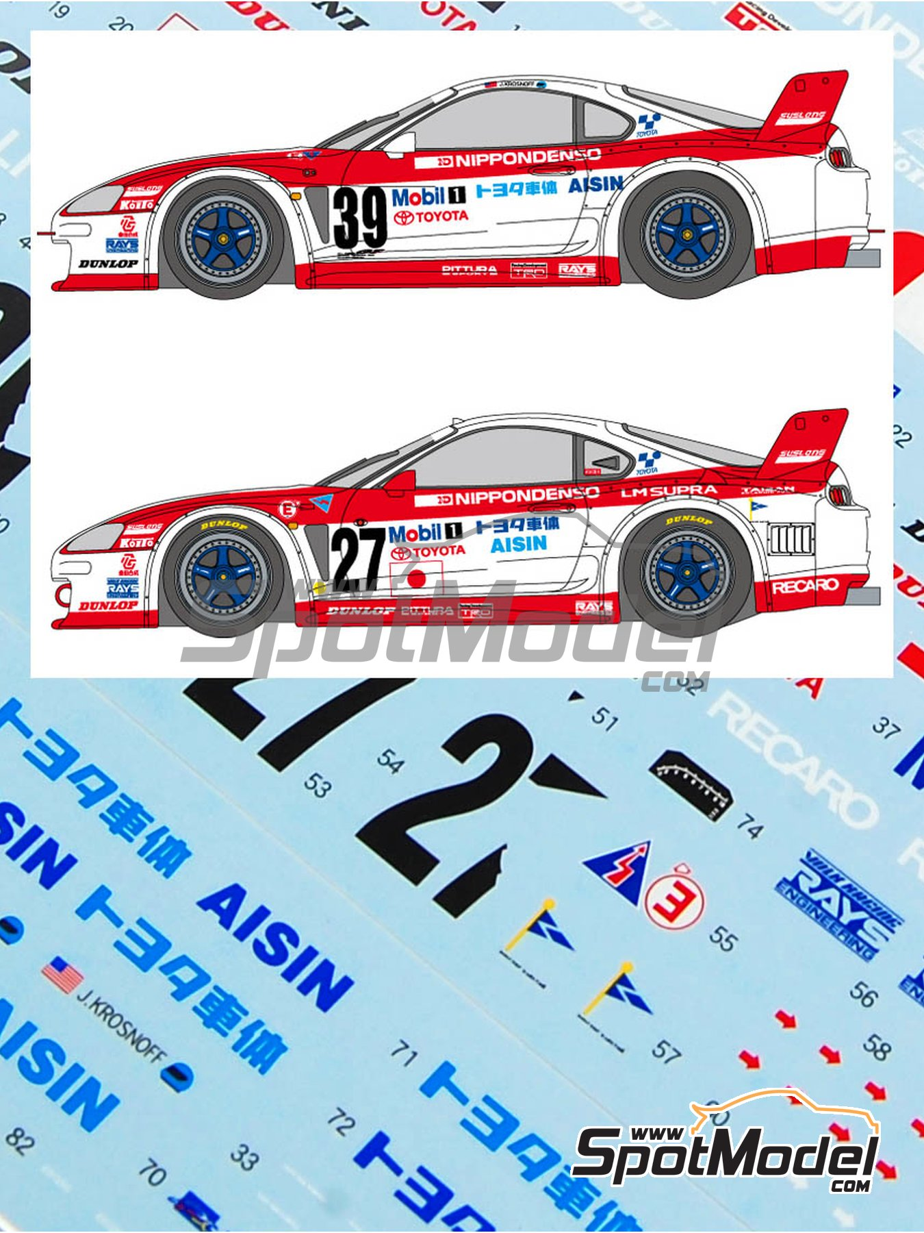 Toyota Supra GT Aisin - 24 Hours Le Mans 1995 | Marking / livery in 1/24 scale manufactured by Shunko Models (ref. SHK-D161) image