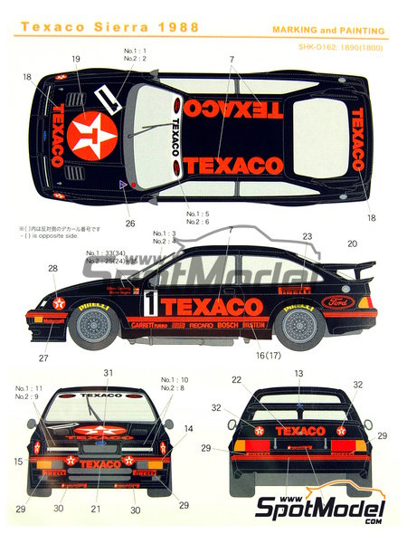 Ford Sierra Eggenberger RS500 Group A Texaco - European Touring Car Championship ETCC 1988 | Marking / livery in 1/24 scale manufactured by Shunko Models (ref. SHK-D162) image
