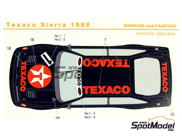 Image 1: Ford Sierra Eggenberger RS500 Group A Texaco - European Touring Car Championship ETCC 1988 | Marking / livery in 1/24 scale manufactured by Shunko Models (ref. SHK-D162)